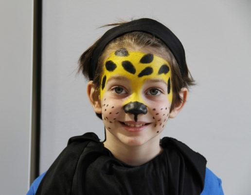 pintar cara niños leopardo